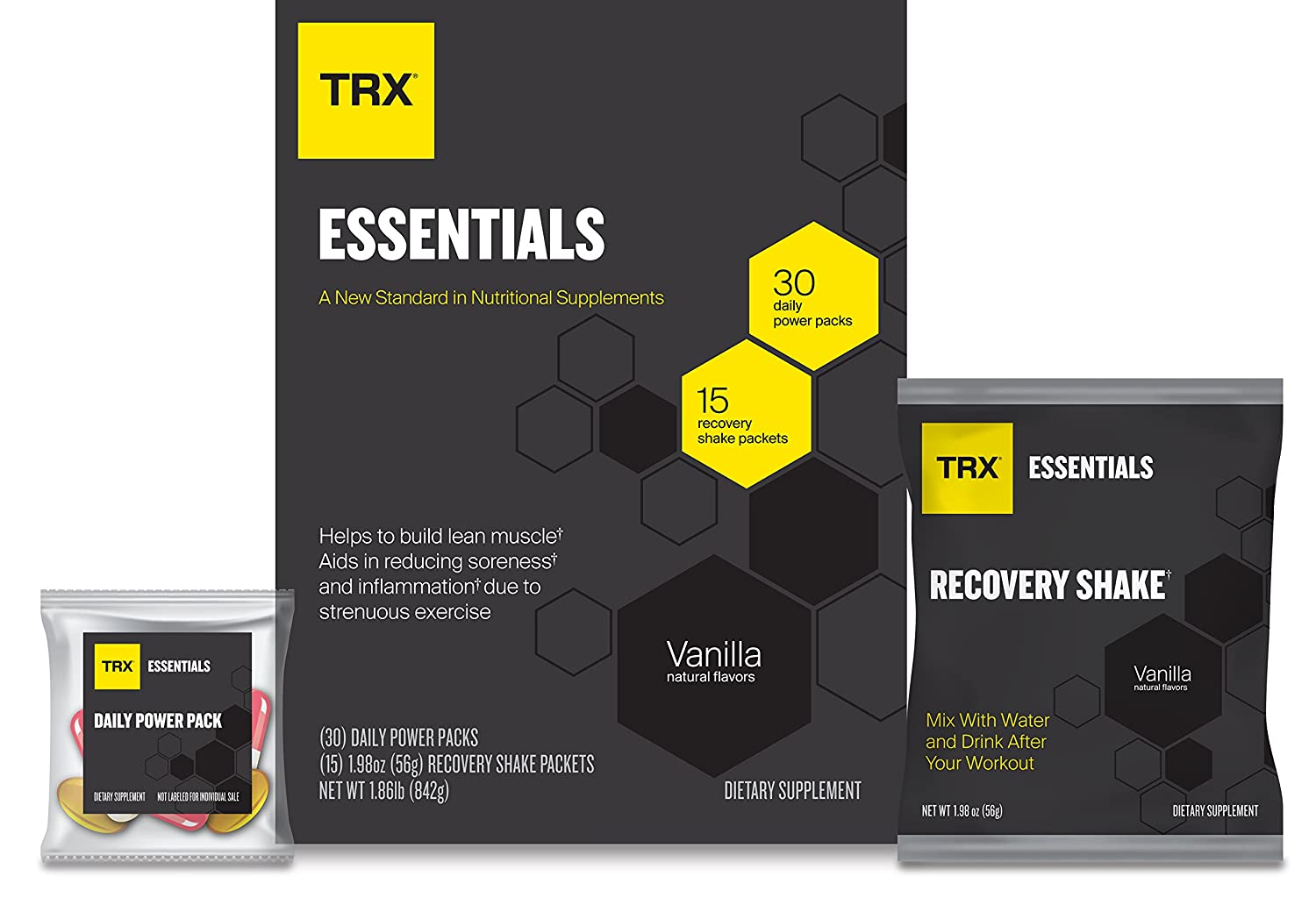 TRX Essentials 30-Day Multi-Nutrient and Post-Workout Recovery System, Designed to Help Build Lean Muscle, Reduce Soreness and Aid Recovery, Vanilla (30 Daily Power Packs and 15 Recovery Shake Packs)