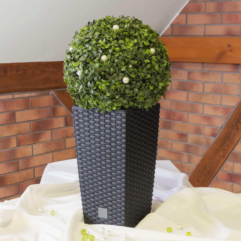 Carre Rato Square pot de fleur 7 L en plastique en anthracite rotin osier style