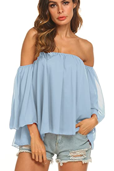5ea80e37b6c146 Uvog Women's Summer Off Shoulder Tops Ruffle Short Sleeve Chiffon Blouse  Casual T-Shirts at Amazon Women's Clothing store: