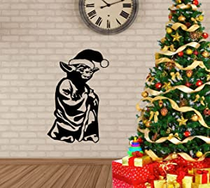 Star Wars Christmas Decorations - Yoda with Santa Claus Hat - Jedi Holiday Vinyl Wall Decal for Home Decor and Parties