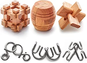 Brain Teaser Puzzles Metal and Wooden for Kids and Adults 6 Pack - 3D, Mind, Brain Test and Handheld Disentanglement Games - Jigsaw IQ Challenge Party Favor