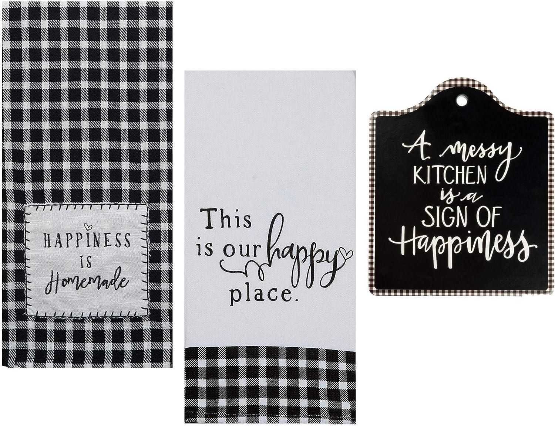 Amazon Com 18th Street Gifts Farmhouse Kitchen Towels And Trivet Set Black White Buffalo Plaid Decor Home