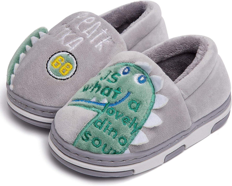 Zwirelz Cute Dinosaur Slippers Kids/Toddlers Baby Cartoon Winter Warm House Slippers Booties