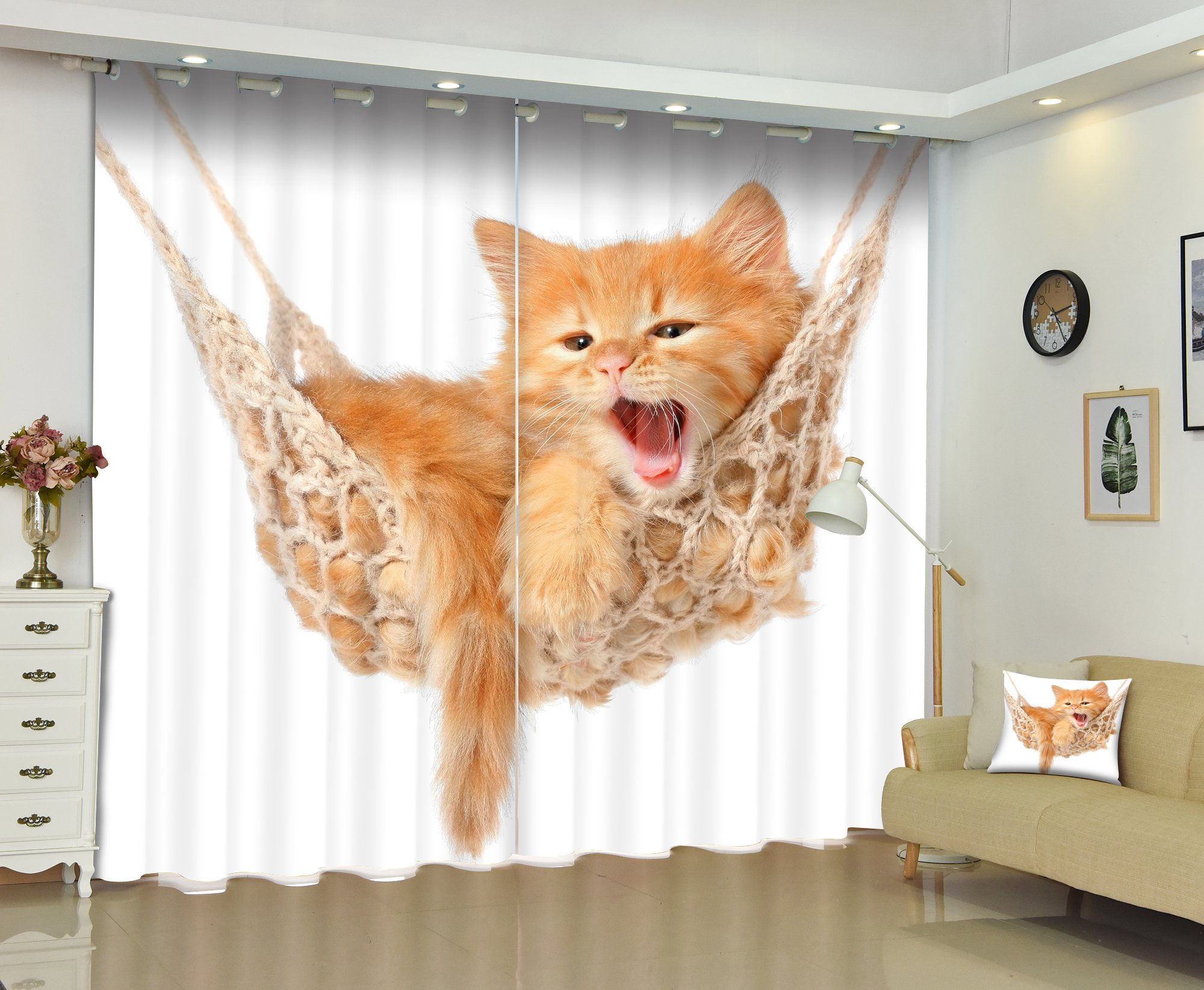 Newrara 3D Lovely Cat Printed Animal Style Thick Polyester 2 Panels Window Curtain For Living Room&Bedroom,Free Hook Included (80W84''L, Color4)