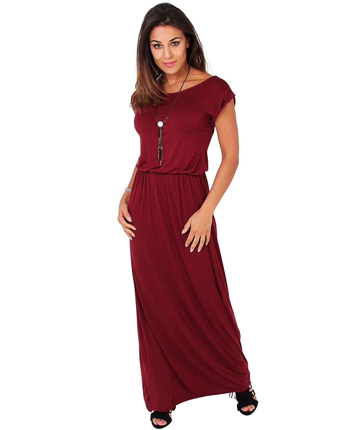 KRISP Womens Maxi Dress Short Sleeve Party Festival Evening