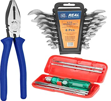 REALstf Multi Hand Tool Kit 15 Pc. - 8 pcs Set of Double Open End (D.O.E) spanners with Hanging Tray, Combination Plier 8