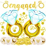 Engagement Party Decorations-Giant 45 inch Diamond Wedding Ring Balloons,Extra-Large Engaged Banner and Glittering Gold Ring