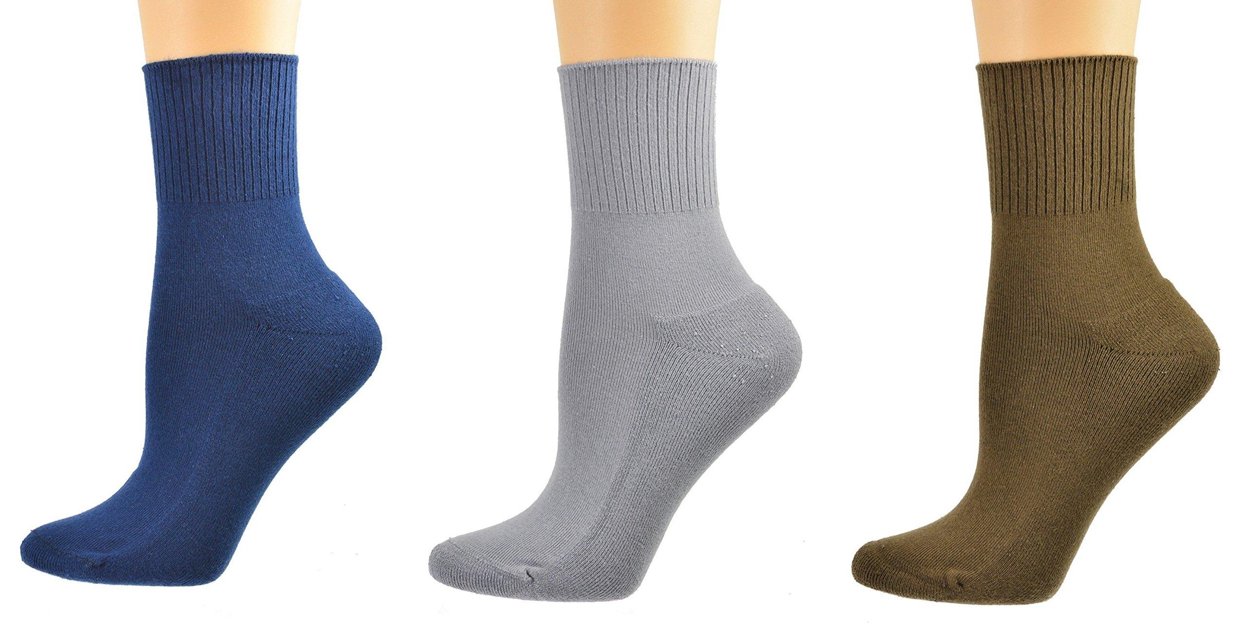 Sierra Socks Diabetic Arthritic Womens Ankle Cushioned Sole Smooth Toe 3 Pair Pack (9-11, Navy/Brown/Gray)