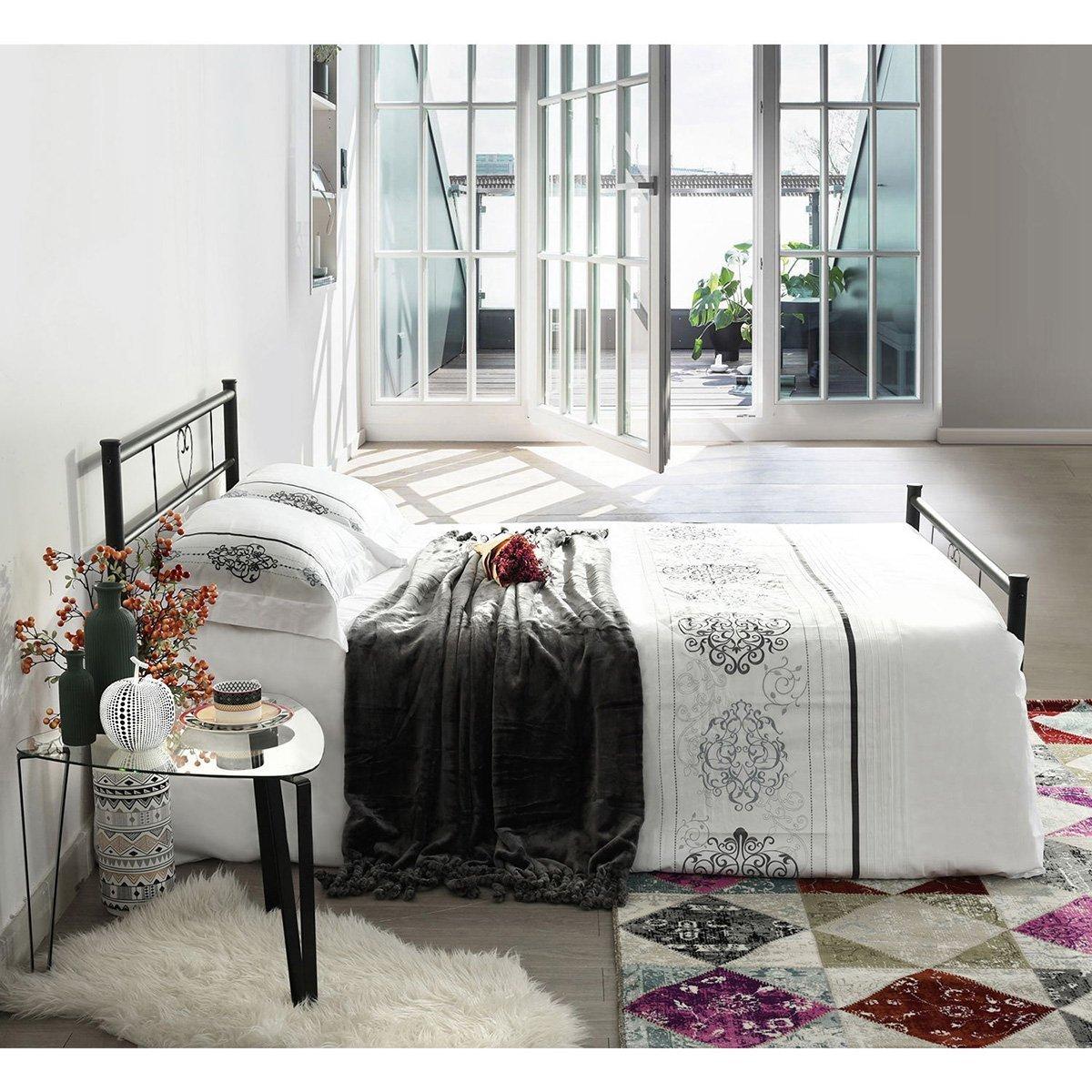 eggree lit double pour enfants adulte cadre de lit en m tal structure m tallique ebay. Black Bedroom Furniture Sets. Home Design Ideas