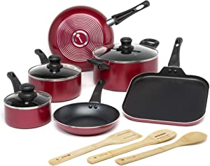 Ecolution Easy Clean Non-Stick Piece Cookware, Dishwasher Safe Pots and Pans Set with Bamboo Wood Cooking Utensils, 12, Red
