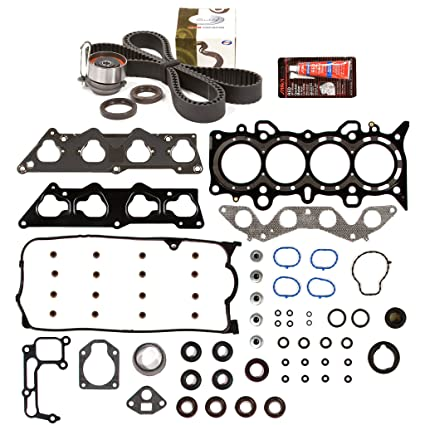 Evergreen HSTBK4038 Head Gasket Set Timing Belt Kit Fits 01-05 Honda Civic  DX LX 1 7L SOHC D17A1