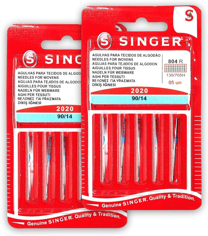 Singer Kit de 2 Paquetes de Agujas 804R 2020 90/14 Tejidos de Algodón para Máquinas de Coser 130/705 H