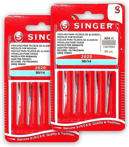 Singer Kit de 2 Paquetes de Agujas 804R 2020 90/14 Tejidos de ...