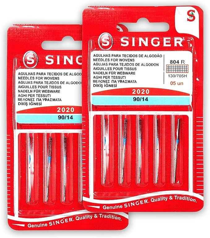 Singer Kit de 2 Paquetes de Agujas 804R 2020 90/14 Tejidos de Algodón para Máquinas de Coser 130/705 H: Amazon.es: Hogar