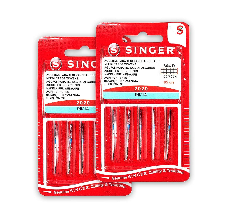 Singer Kit di 2 confezioni di aghi 804R 2020 90//14 tessuti di cotone per macchine da cucire 130//705 H