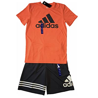 adidas Boys Youth Two 2 Piece Athletic Climate Tee T-Shors and Shorts Size Large L (14-16)