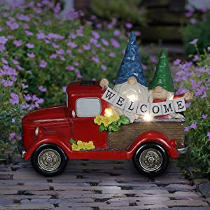 Exhart Solar Gnome Couple in Red Retro Truck with LED Welcome Sign Garden Statuary, 17.5 by 13.5 Inches