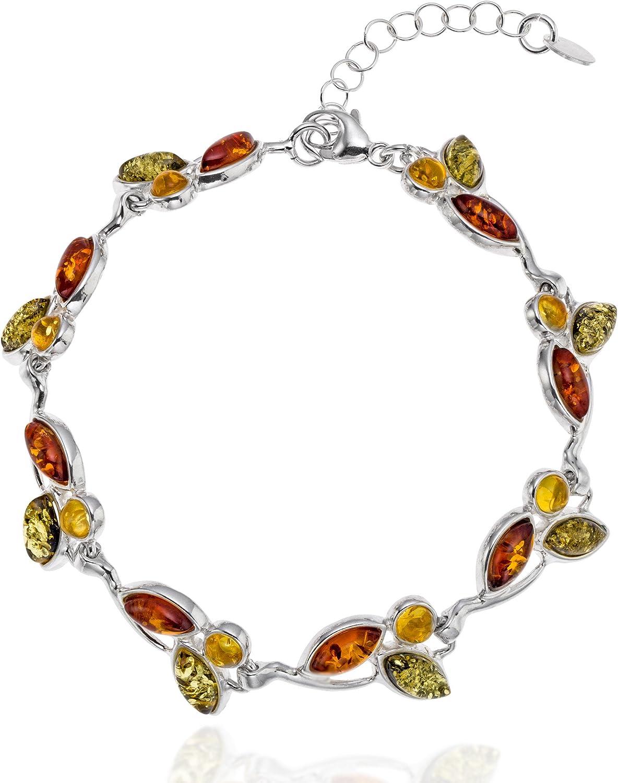 Copal Joya Pulsera con Ámbar, plata de ley 925, Naturaleza multicolore, con caja de joyas, idea regalo