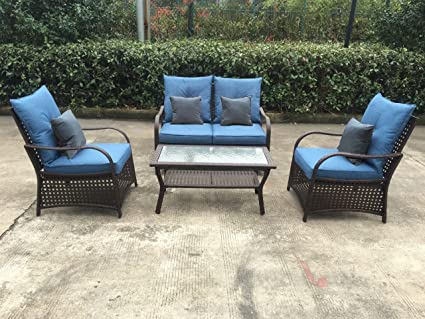 Sol Siesta Clubhouse Collection 4 Piece Conversation Set Of Resin Wicker Patio  Furniture, Blue Cushions