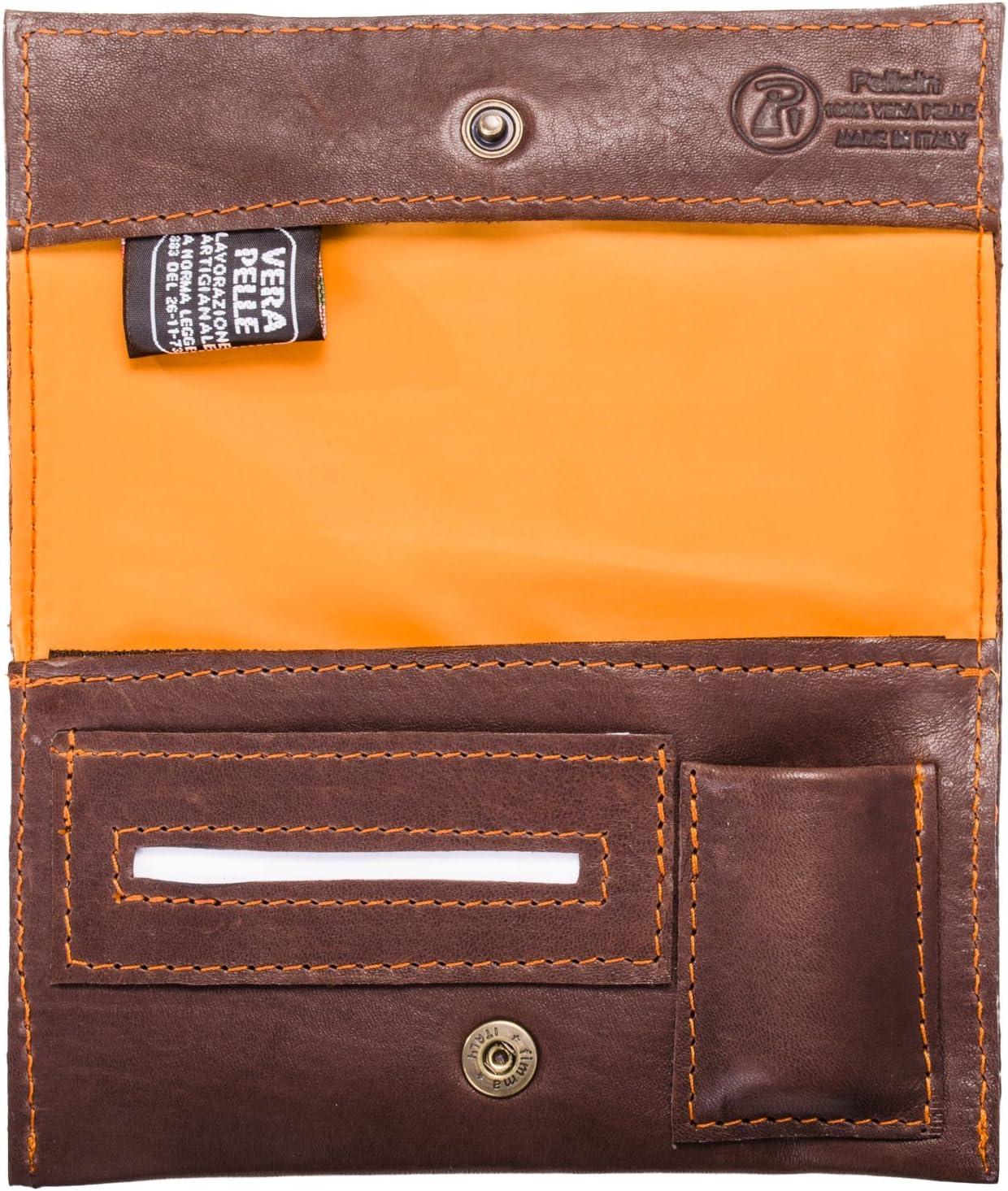 Pellein - Portatabaco de piel auténtica Nurem – Estuche para tabaco, portafiltros, portarrollos y porta mechero. Hecho a mano en Italia.