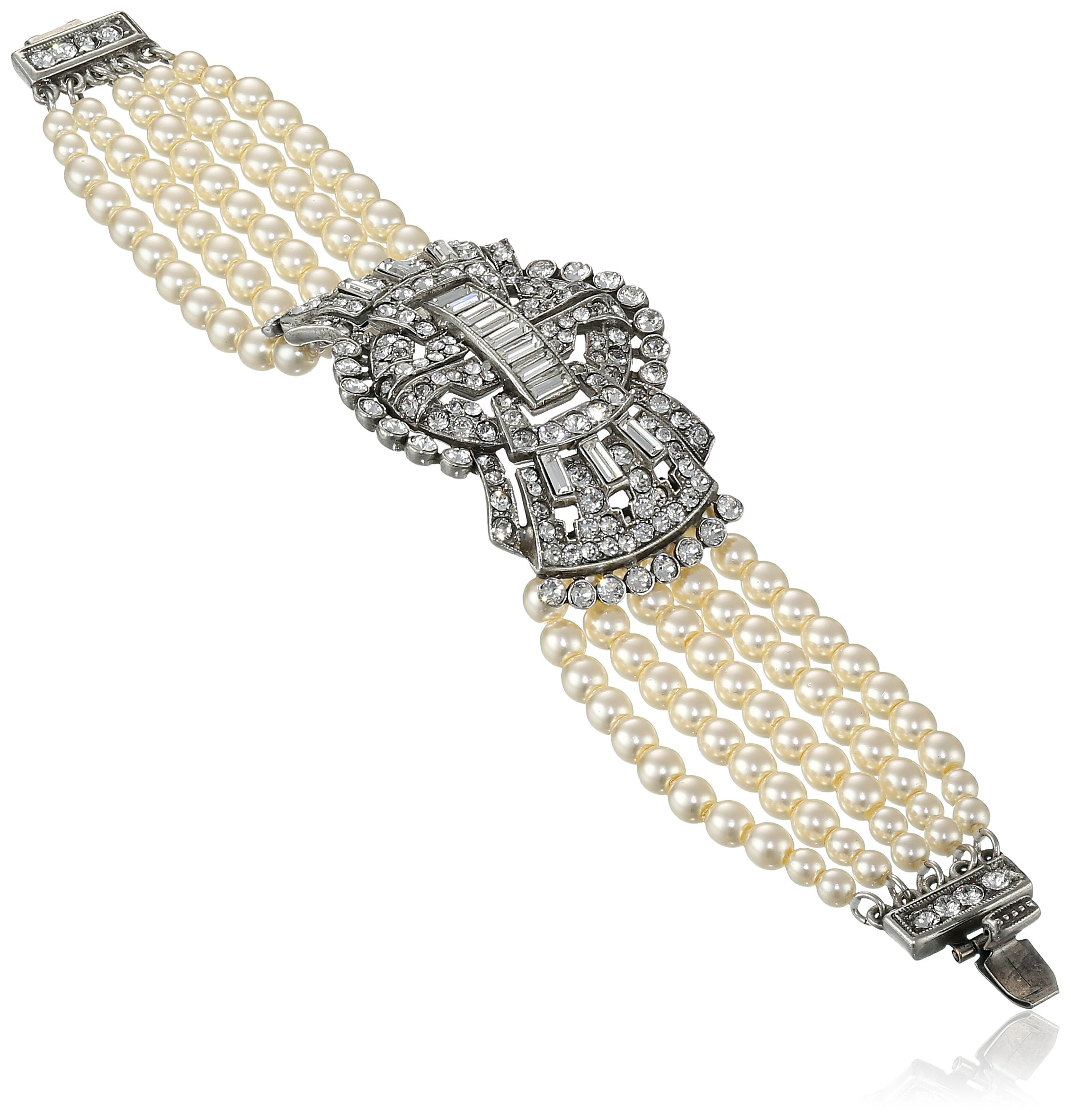 Ben-Amun Jewelry Swarovski Crystal and Glass Pearls Deco Bracelet for Bridal Wedding Anniversary