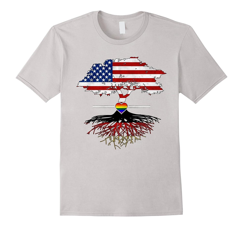 American Grown German Roots Gay Heart LGBT Pride T-Shirt-CD