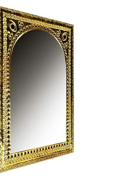 Espejo de pared oriental Igballe de 33 cm, de latón dorado ...