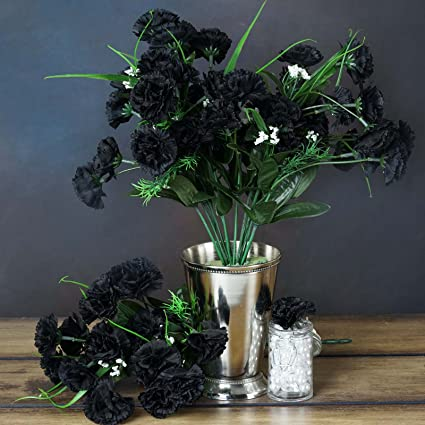 Amazon balsacircle 252 black mini silk carnations 12 bushes balsacircle 252 black mini silk carnations 12 bushes artificial flowers wedding party centerpieces arrangements mightylinksfo