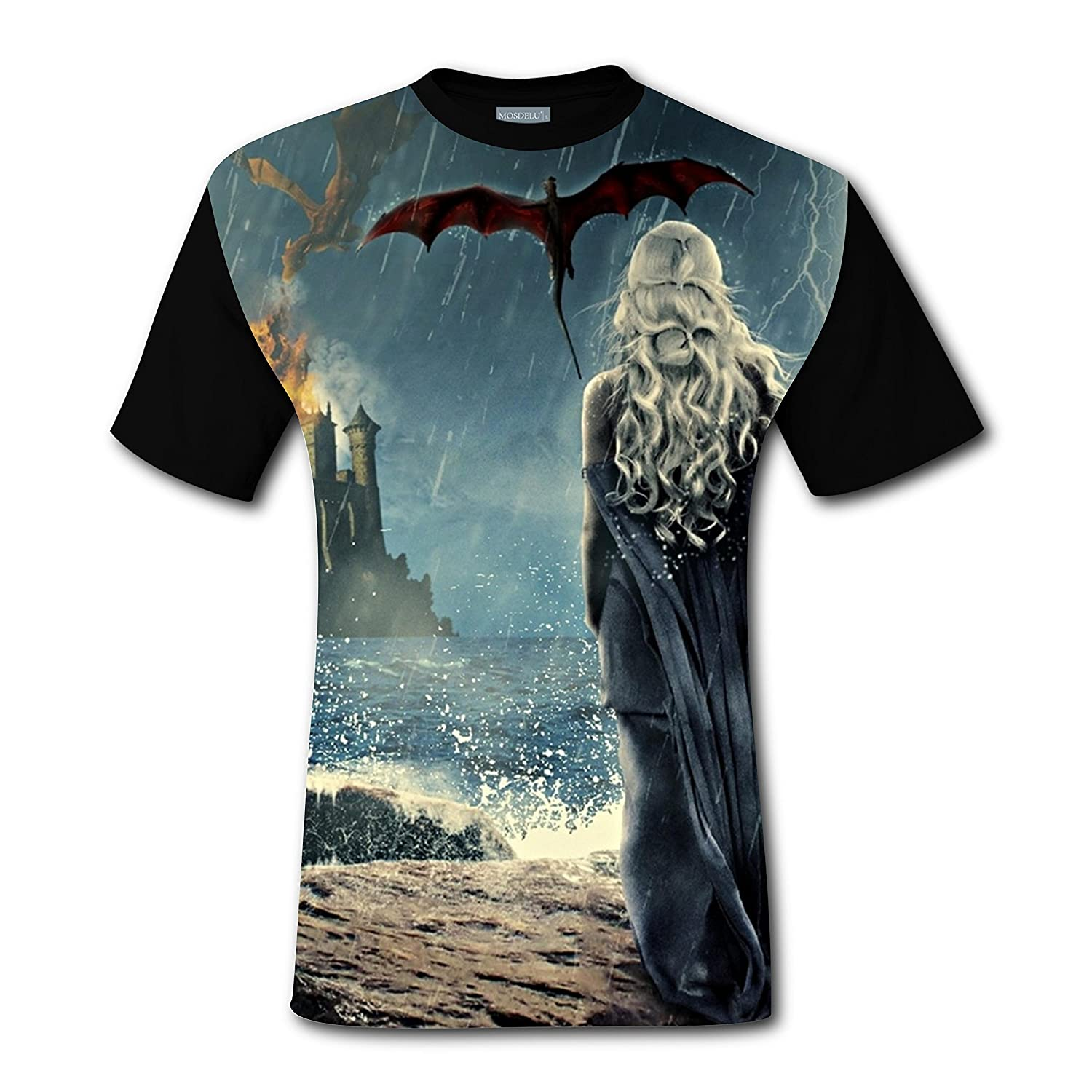 30aa81d4 T-shirts Tee Shirt Tops for Men Black Cool 3D Game-of-Thrones Dragon ...