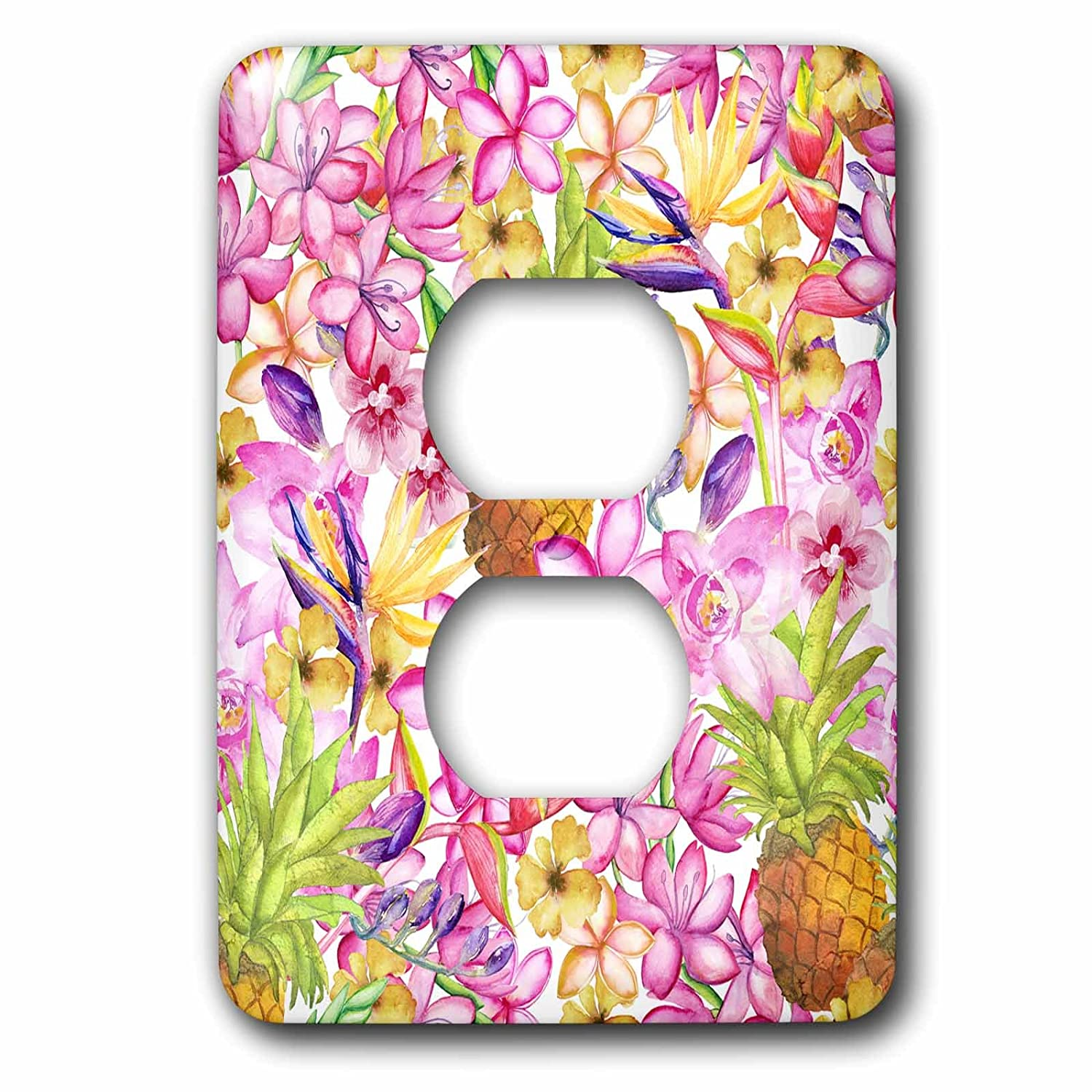lsp/_268425/_6 3dRose Andrea Haase Allover Pattern Light Switch Covers 2 plug outlet cover Exotic Watercolor Pattern With Flowers And Pineapple