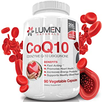 Coenzima Q10 200mg - Suplemento de rápida actuación de CoQ10 Ubiquinona a la hora de proporcionar salud al corazón, energía celular y resistencia para ...