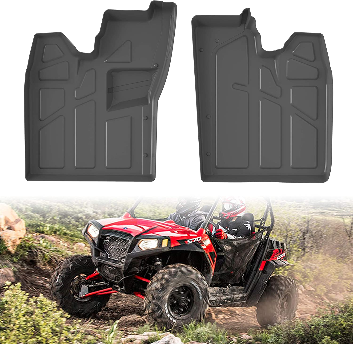 Front Row Floor Liners All Weather Protection Slush Mats for Polaris RZR 570 800 900 2008-2015 Accessories SAUTVS RZR TPE Floor Mats