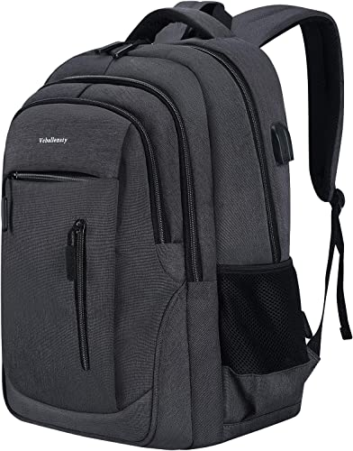 Laptop Backpack, Veballensty College School Computer Bookbag with USB Chargering Headphone Port Fits 15.6 Inch Laptop or Notebook for Travel Outdoor Camping Grey