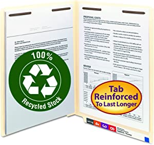 Smead 100% Recycled End Tab Fastener File Folder, Shelf-Master Reinforced Straight-Cut Tab, 2 Fasteners, Letter Size, Manila, 50 per Box (34160)