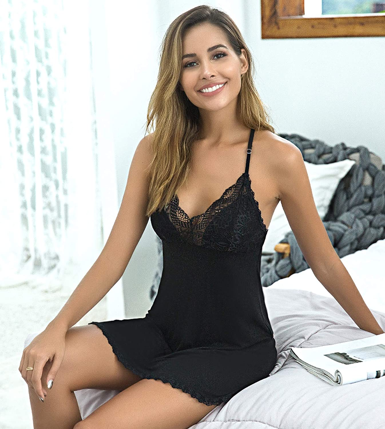 ADOME Women Nightgown Sexy Lingerie Modal Sleepwear Lace Babydoll Full Slips at  Women's Clothing store