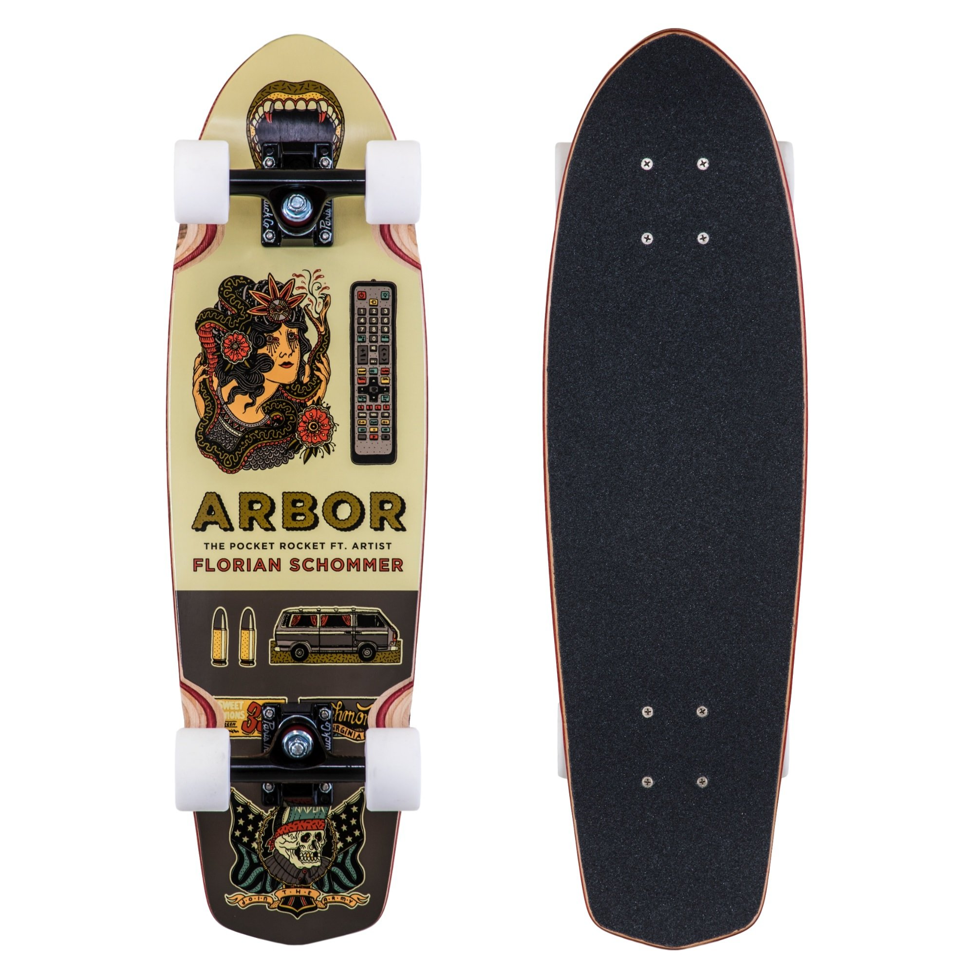 Fireball Arbor x Supply Co. Longboard Skateboards (Various Models) (Pocket Rocket - Artist (27''), Complete)