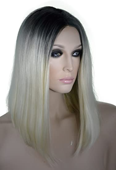 Amazoncom Platinum Blonde With Dark Roots Lace Front Bob Wig Beauty