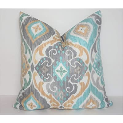 Flowershave357 Outdoor Richloom Diamond Grey Blue Beige Spa Blue Ikat Pillow Cover Patio Decor Size 18x18: Kitchen & Dining
