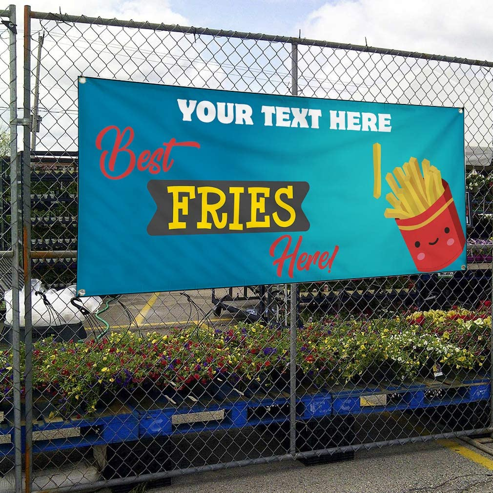 Custom Industrial Vinyl Banner Multiple Sizes Best Fries Here Personalized Text Funny and Novelty Outdoor Weatherproof Yard Signs Yellow 4 Grommets 12x30Inches