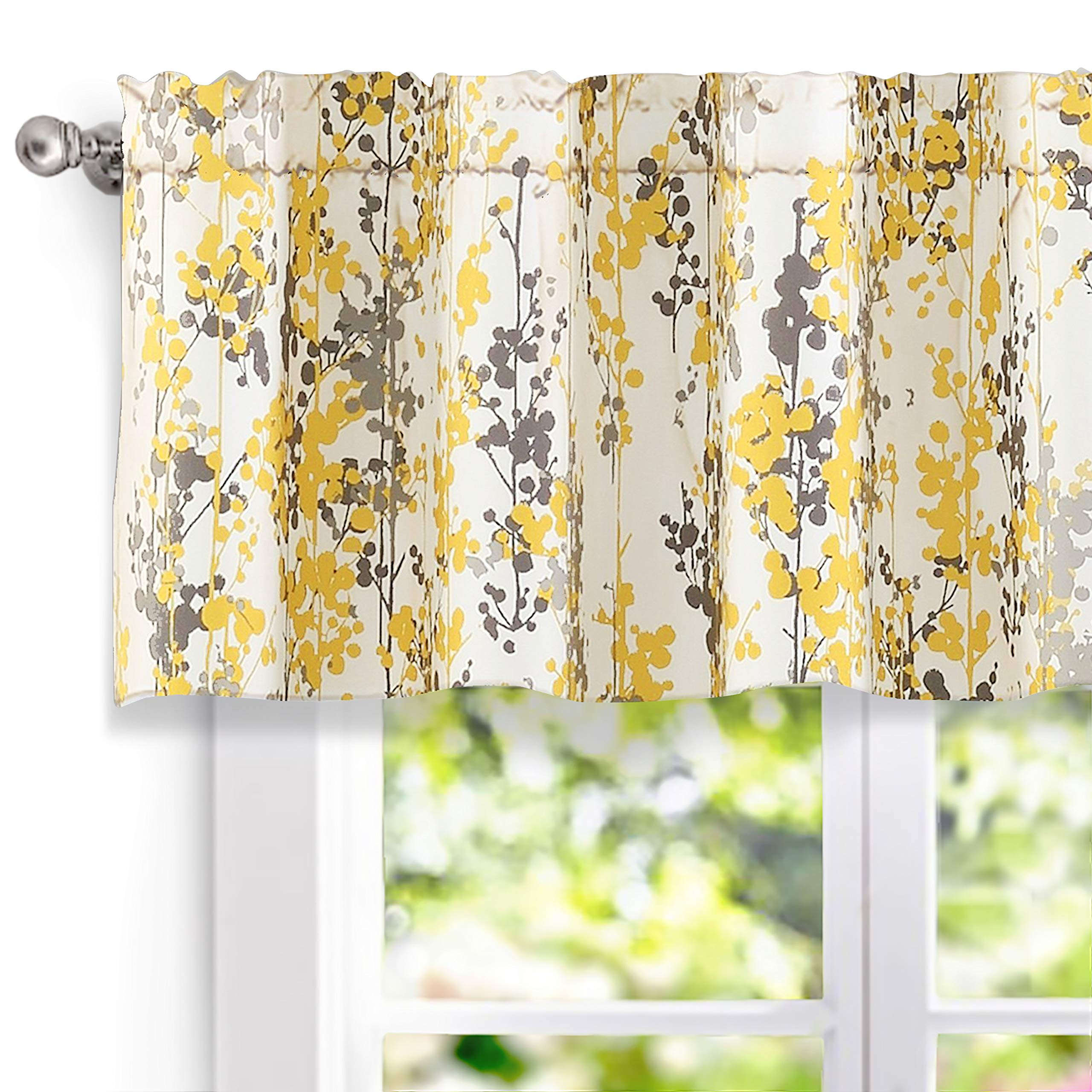 DriftAway Leah Abstract Floral Blossom Ink Painting Window Curtain Valance (Yellow/Silver/Gray, 52''x18''+2'' Header)