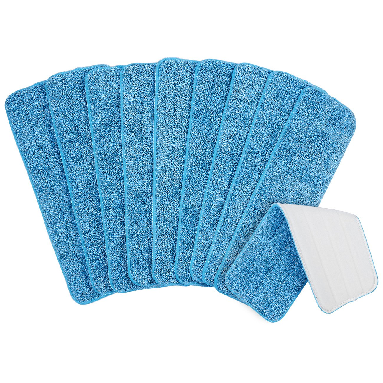 Pack of 10 Microfiber Mop Pads - Reusable Floor Mop Pads - Suitable for Hook and Loop Mop Heads, 16.5 x 0.25 x 5.38 Inches, Blue