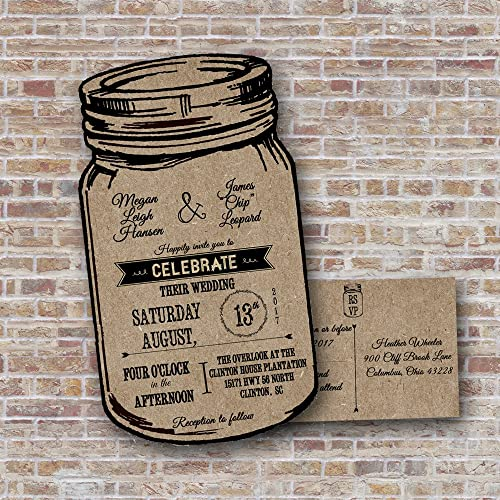 Amazon Com Kraft Mason Jar Wedding Invitations Rustic