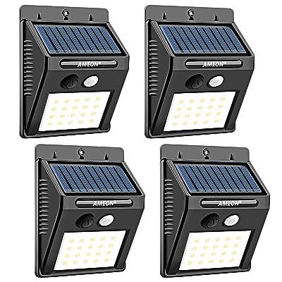 Ameon Lampes Solaires D Extérieur 20 Led Détecteur De Mouvement