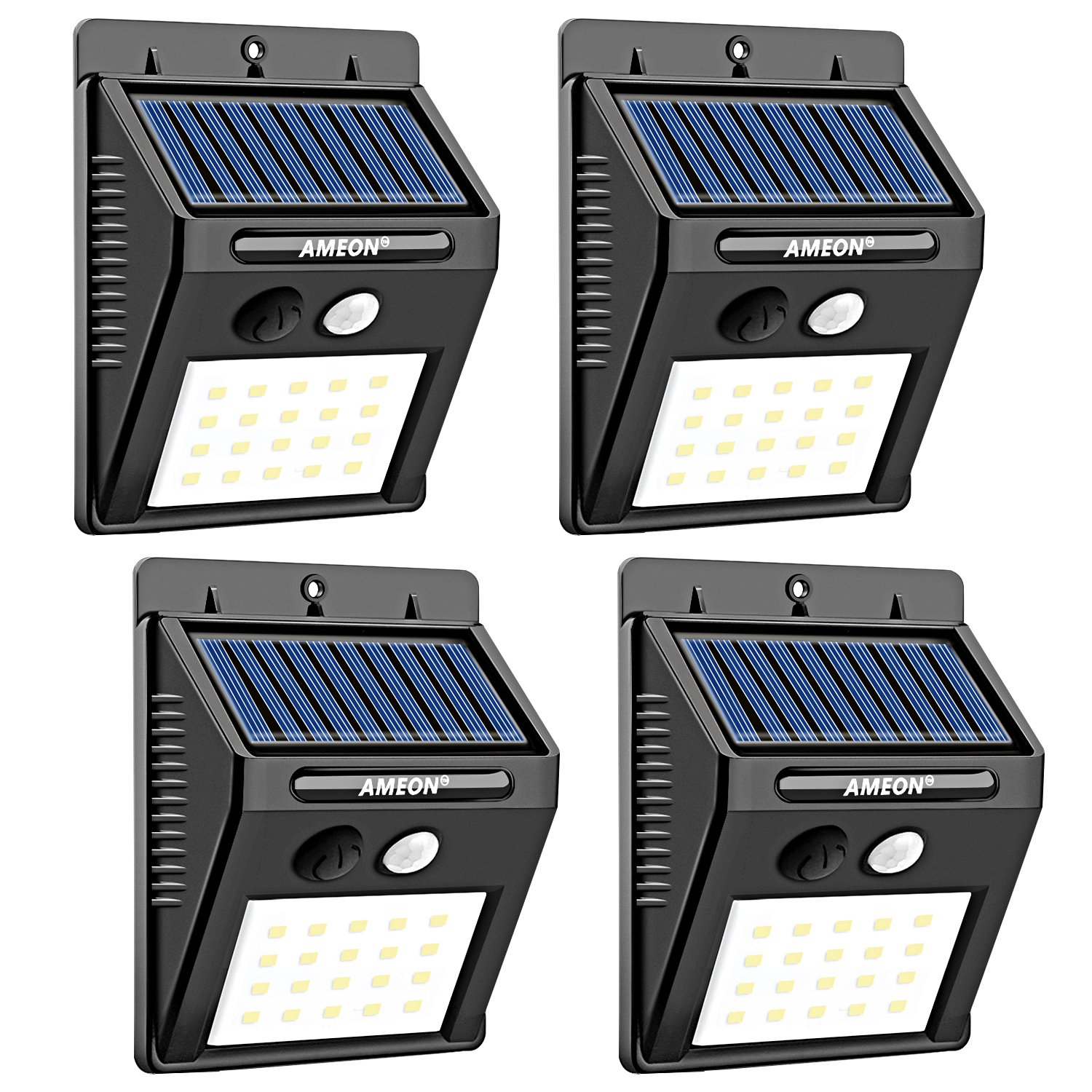 AMEON Solar Lights Outdoor, 20 LED Wireless Waterproof Motion Sensor Lights for Patio, Deck, Yard, Garden with Motion Activated Auto On/Off (4-Pack)