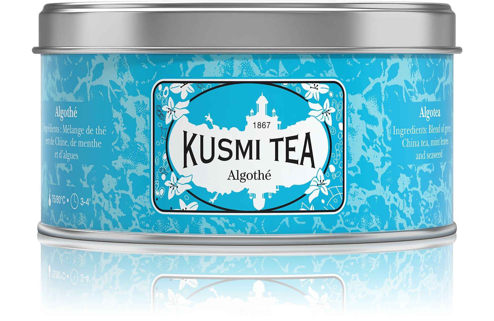 Kusmi Tea Algotea Seaweed and Mint-Flavored Green Tea - Mint Essential Oils, Sea Lettuce, Nori, and Dulse Perfect for Refreshing Iced (4.4oz Tin 50 Servings)