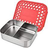 LunchBots Trio II Stainless Steel Food Container - Three Section Design Perfect for Healthy Snacks, Sides, or Finger Foods On the Go - Eco-Friendly, Dishwasher Safe and BPA-Free - Red Dots