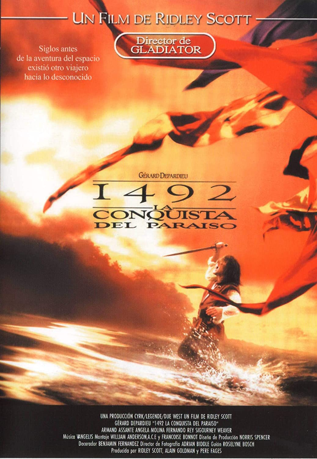 1492 Conquest Of Paradise 1492 La Conquista Del Paraiso Pal Region 0 Dvd Import Spain Gérard Depardieu Armand Assante Sigourney Weaver Angela Molina Tchéky Karyo Ridley Scott Movies Tv