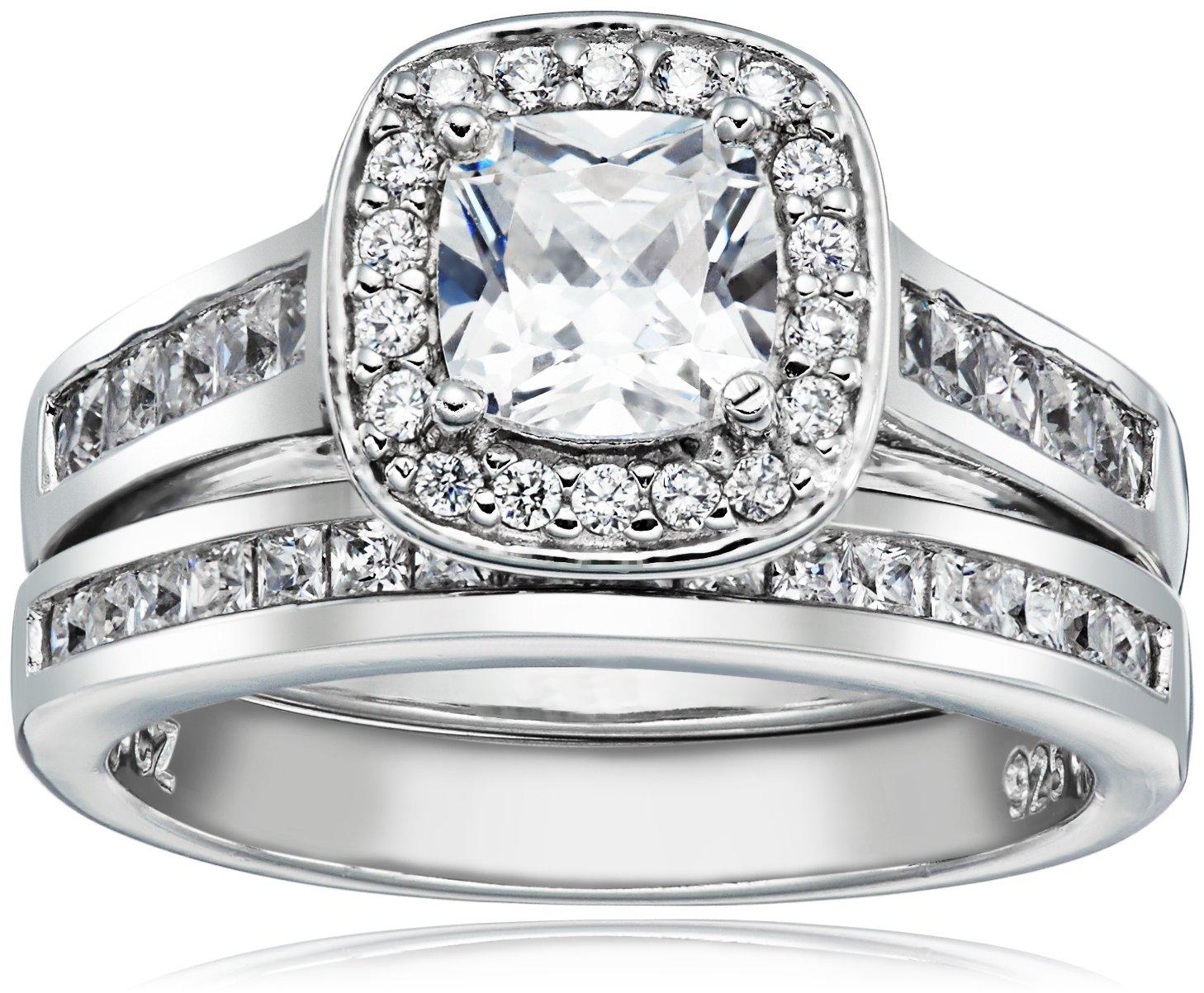 Sterling Silver Cubic Zirconia Cushion Cut Halo Channel Set Bridal Wedding Ring Set, Size 7