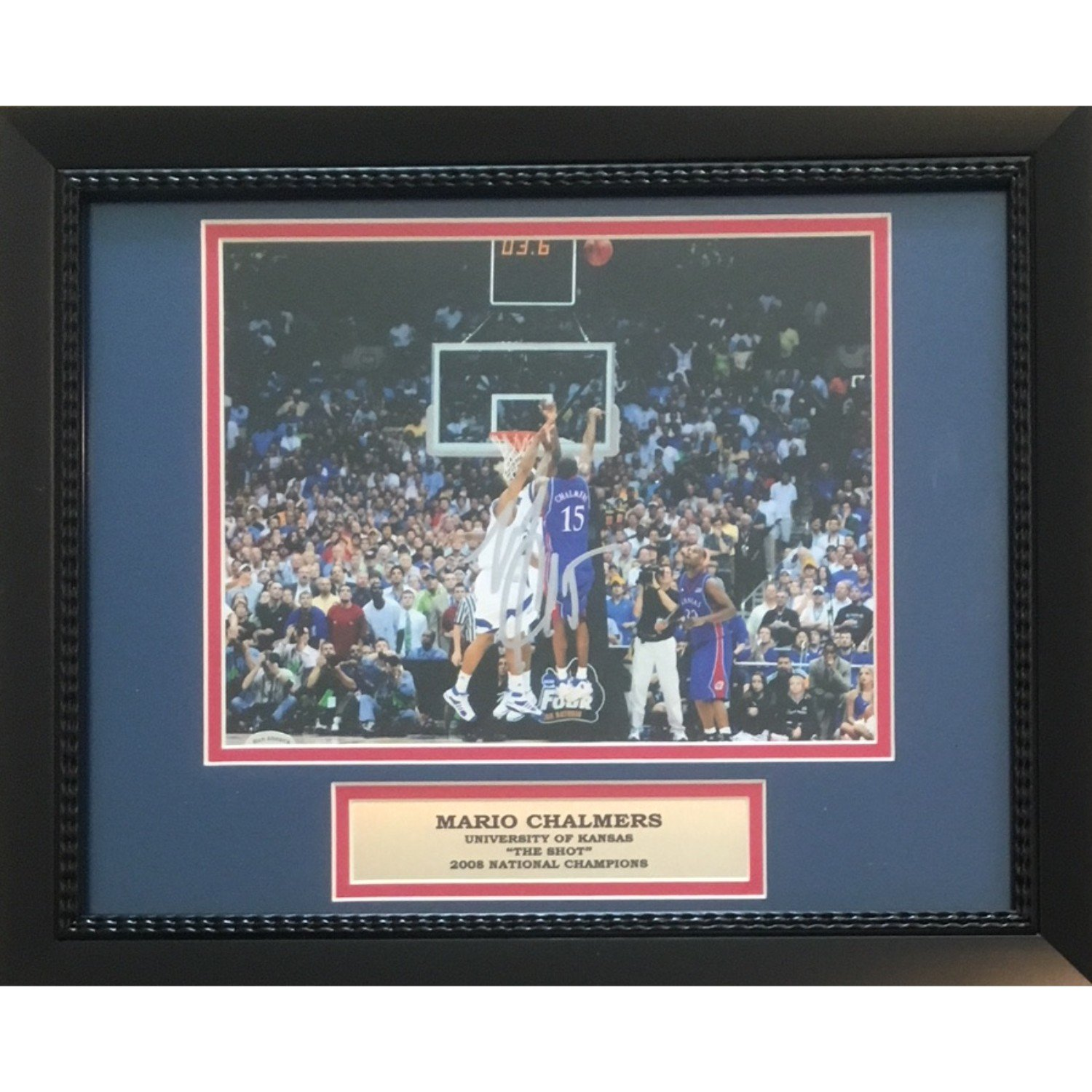 Mario Chalmers Autographed Kansas Jayhawks THE SHOT Signed Framed 8x10 Basketball Photo Powers Collectibles