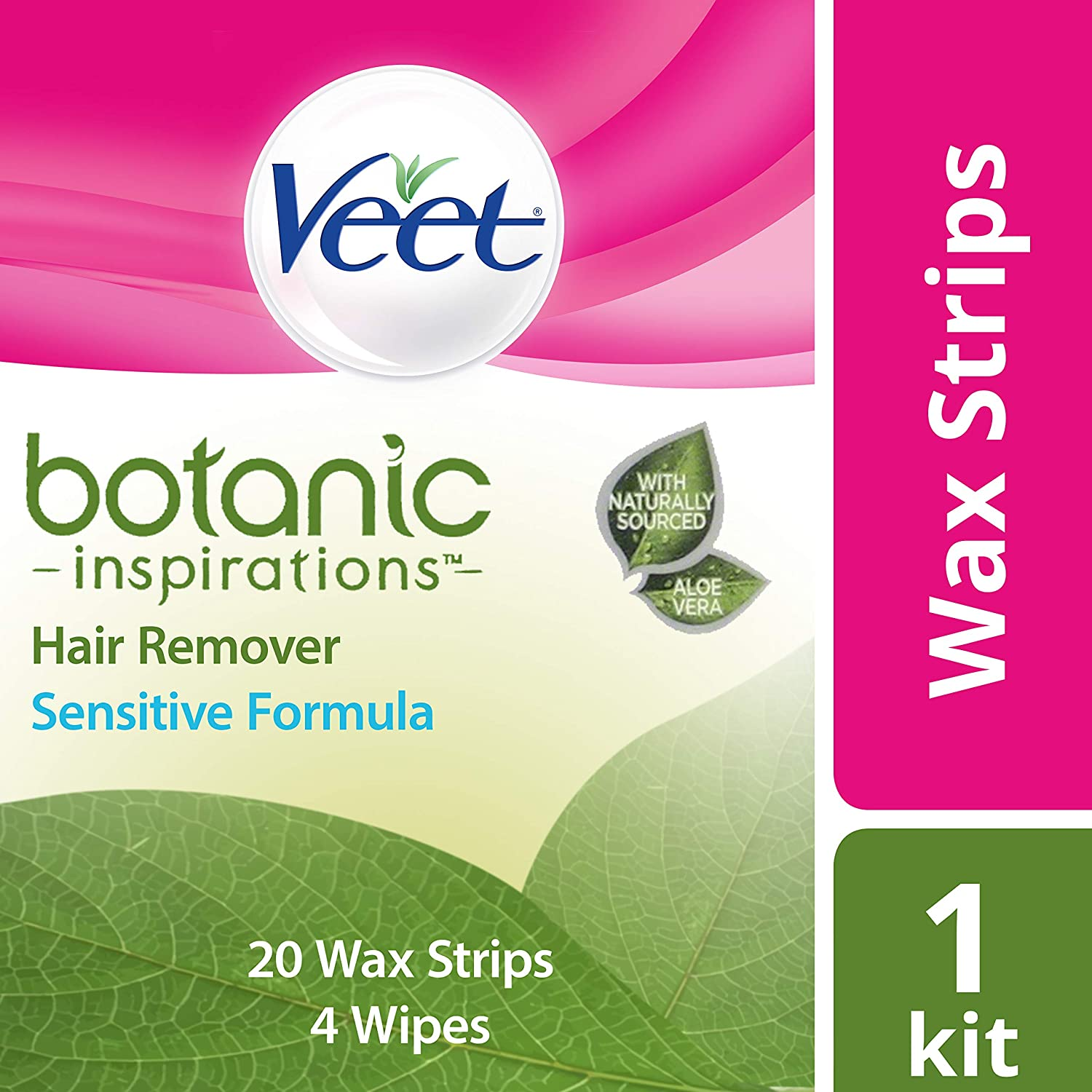 VEET Botanic Inspirations Wax Strip Kit for Bikini, Under Arm & Face, Sensitive Formula, 20 Wax Strips